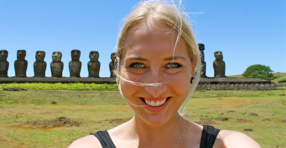 Carolyn on a visit to Easter Island.